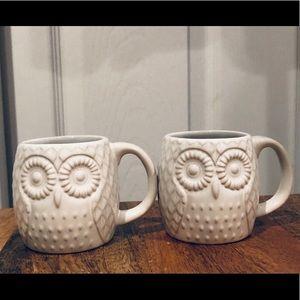 West Elm New owl white espresso shot mugs cups